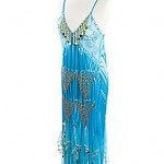 egyptian turquoise silk dress