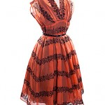 Vintage 50's Orange and black chiffon dress size M ref 1079