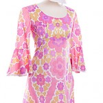 1960's pink floral dress with matching accessories size 12 ref 0729