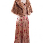 40's silk gold gown shown with blond mink cape