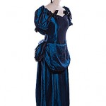 Victorian blue silk evening dress with bustle, gloves and headress avaliable to finish the look. ref 0559