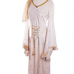 Medieval cream velvet dress with fur and gold trim ref 0788