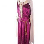 Medieval magenta and gold velvet gown & headress  M-L ref 2405